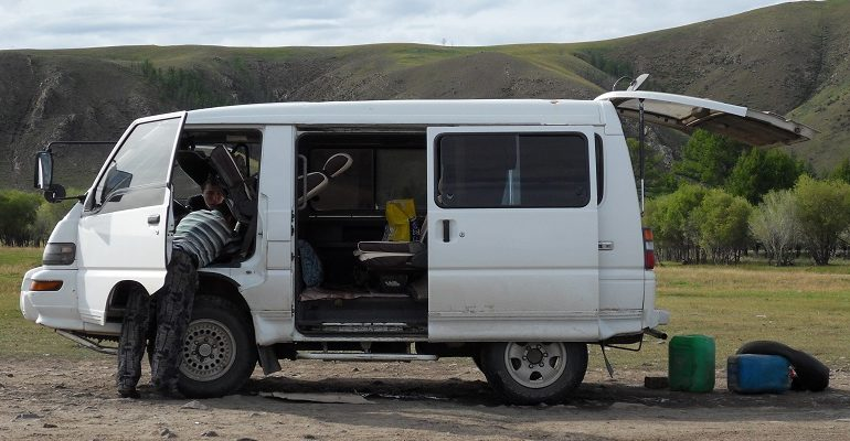 Autopech in Mongolië